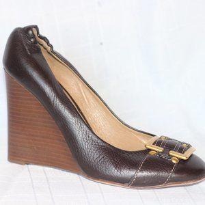 Chloe Brown Leather Wedge Pumps Heels 38.5